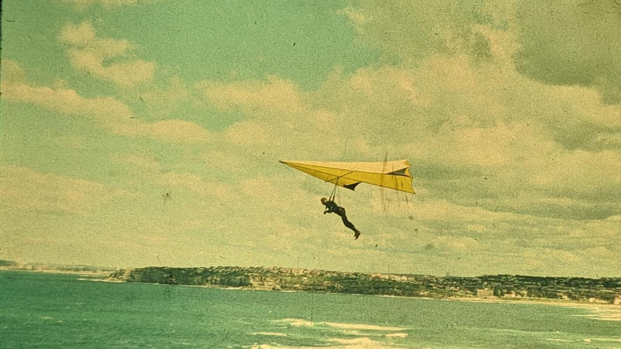 John Walmsley flying his first hang glider in 1977.
